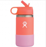 HYDRO FLASK Wide Mouth Kids Bottle - Straw Lid Double Insulated - Hibiscus