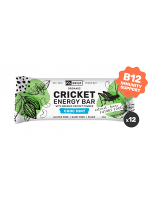 Grilo Organic Cricket Energy Bar | Chocolate Mint 45g - Box of 12