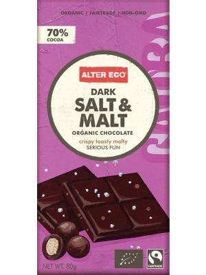 ALTER ECO Chocolate (Organic) Dark Salt & Malt 80g