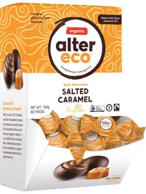 ALTER ECO Dark Salted Caramel Truffles Tub 60x12g