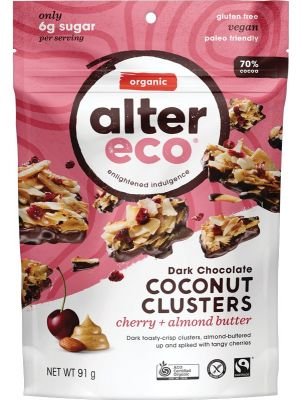 ALTER ECO Dark Chocolate Coconut Clusters Cherry + Almond Butter 91g