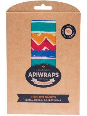 APIWRAPS R/sble Beeswax Wraps- Ktchn 1 X Small, Medium & Large 3