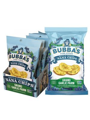 BUBBA'S FINE FOODS Kettle Cooked 'Nana Chips Grand Garlic Parm 8x37g