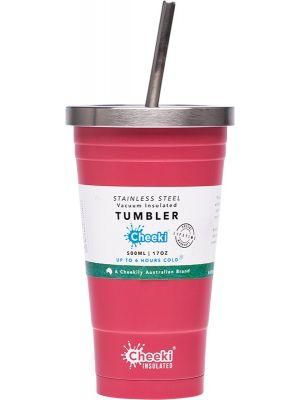 CHEEKI Insulated Tumbler Dusty Pink - With S/Steel Straw 500ml