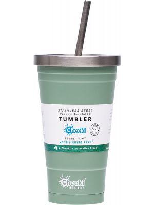 CHEEKI Insulated Tumbler Pistachio - With S/Steel Straw 500ml