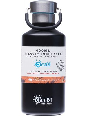CHEEKI Stainless Steel Bottle Insulated - Matte Black 400ml