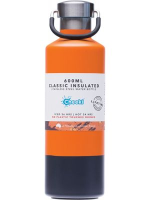 CHEEKI Stainless Steel Bottle Insulated - Orange Grey 600ml