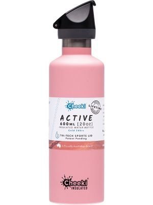 CHEEKI Stainless Steel Bottle Insulated - Pink Sports Lid 600ml