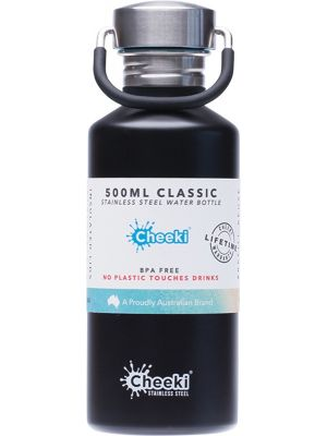 CHEEKI Stainless Steel Bottle Matte Black 500ml