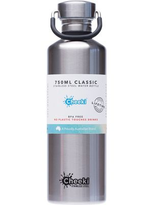CHEEKI Stainless Steel Bottle Silver 750ml