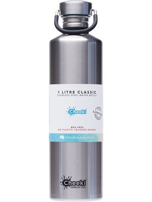 CHEEKI Stainless Steel Bottle Silver 1L
