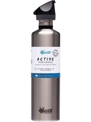 CHEEKI Stainless Steel Bottle Silver - Sports Lid 1L