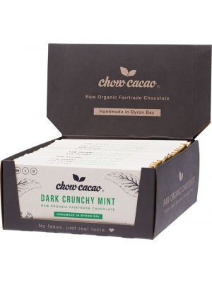 CHOW CACAO Raw Organic Chocolate Dark Crunchy Mint 15x40g