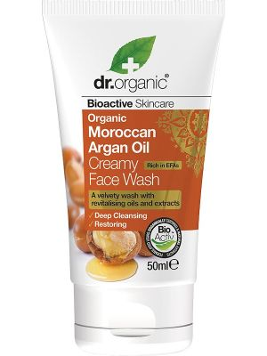 DR ORGANIC Travel Size - Creamy Face Wash Organic Moroccan Argan Oil 50ml