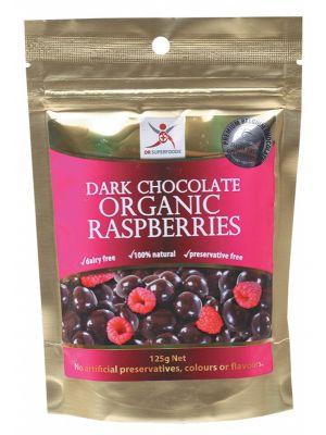 DR SUPERFOODS Dark Choc Organic Rasp. 125g