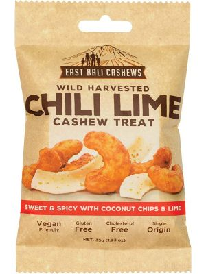 EAST BALI CASHEWS Chili Lime Cashew Treat Wild Harvested 10x35g