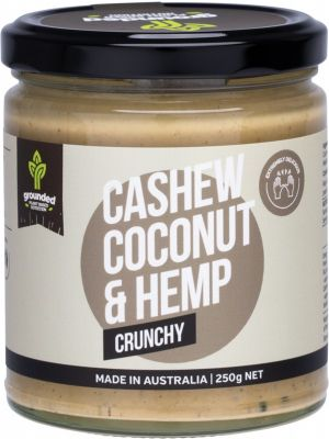 ESSENTIAL HEMP GROUNDED Natural Nut Butter Cashew Coconut - Crunchy 250g