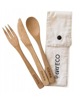 EVER ECO Bamboo Cutlery Set With Organic Cotton Pouch 1