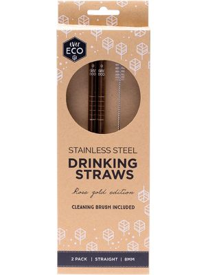 EVER ECO S/Steel Straws- Straight Rose Gold Edition 2