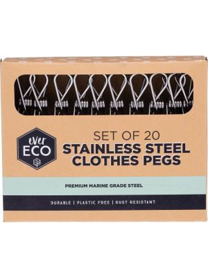 EVER ECO Stainless Steel Clothes Pegs Premium Marine Grade 20