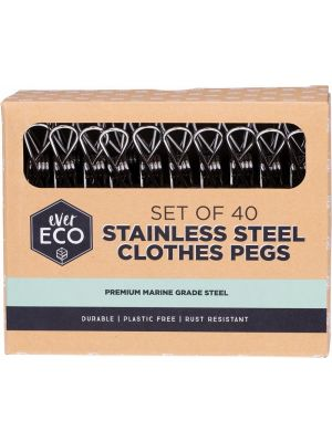 EVER ECO Stainless Steel Clothes Pegs Premium Marine Grade 40