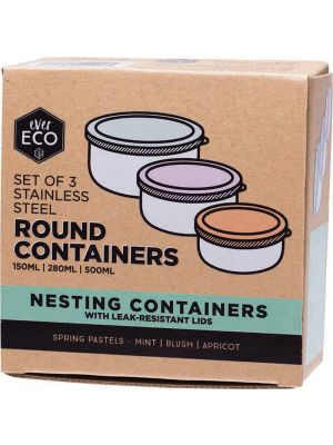 EVER ECO Stainless Steel Round Containers Spring Pastels Set of 3
