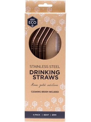 EVER ECO Stainless Steel Straws- Bent Rose Gold Edition 4