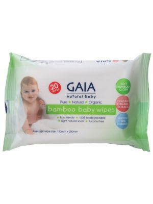 Gaia Natural Baby Bamboo Baby Wipes 20 pack