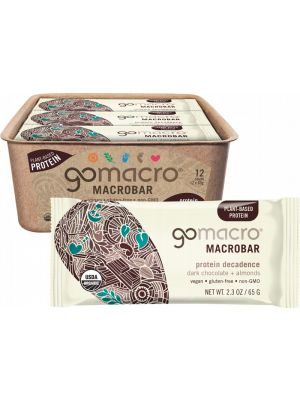 GOMACRO MacroBar Dark Chocolate + Almonds 12x65g