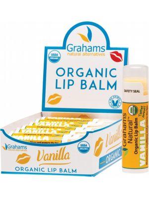 GRAHAMS NATURAL Organic Lip Balm (Display Of 12) Vanilla 12x4.25g