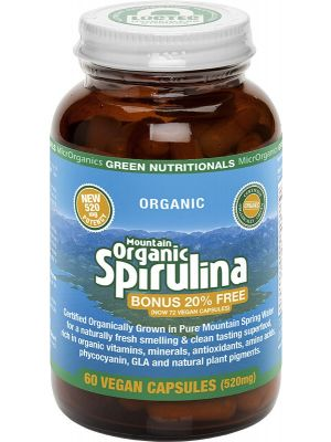 GREEN NUTRITIONALS Mountain Organic Spirulina Capsules (520mg) - Amber Glass 60