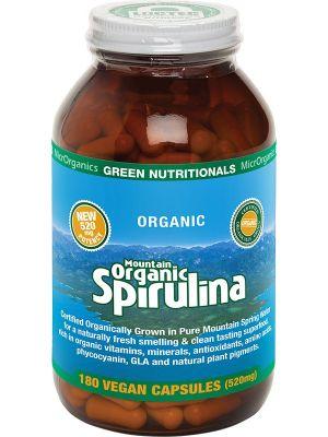 GREEN NUTRITIONALS Mountain Organic Spirulina Vegan Capsules (520mg) 180