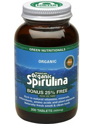 GREEN NUTRITIONALS Mountain Organic Spirulina Tablets (500mg) - Amber Glass 200