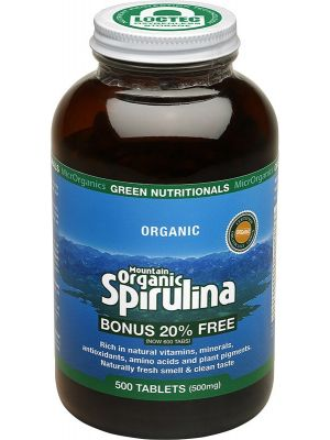 GREEN NUTRITIONALS Mountain Organic Spirulina Tablets (500mg) - Amber Glass 500