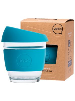 JOCO Reusable Glass Cup Small 8 Oz - Blue 236ml