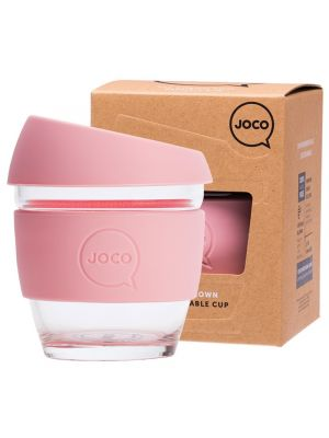 JOCO Reusable Glass Cup Small 8 Oz - Strawberry 236ml