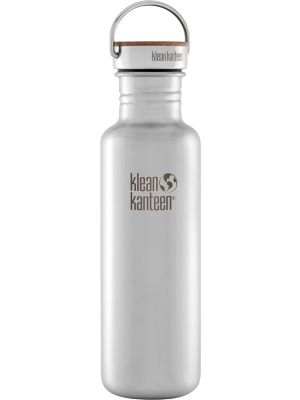 KLEAN KANTEEN Stainless Steel Bottle Reflect Brushed Stainless - Bamboo Cap 800ml