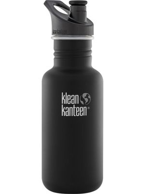 KLEAN KANTEEN Stainless Steel Bottle Shale Black Matte - Sports Cap 532ml