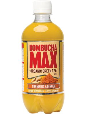 KOMBUCHA MAX Organic Green Tea Kombucha Drink Turmeric & Ginger 500ml