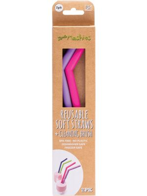 LITTLE MASHIES Reusable Soft Silicone Straws Pink & Purple + Cleaning Brush 2