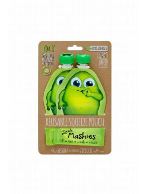 LITTLE MASHIES Reusable Squeeze Pouch - Green 2x130ml