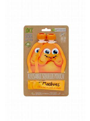 LITTLE MASHIES Reusable Squeeze Pouch - Orange 2x130ml