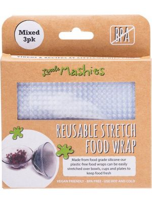 LITTLE MASHIES Reusable Stretch Silicone Food Wrap Pack Of 3 - 1 X S, M & L 3
