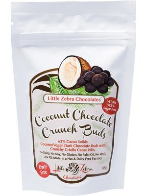 LITTLE ZEBRA CHOCOLATES Dark Chocolate Crunch Buds Coconut 85g