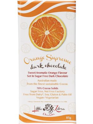 LITTLE ZEBRA CHOCOLATES Orange Supreme Dark Chocolate 85g