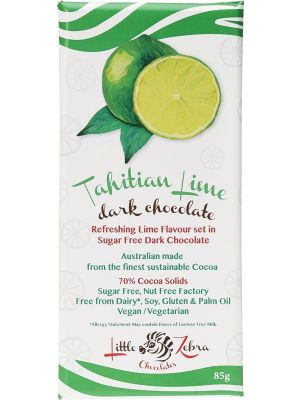 LITTLE ZEBRA CHOCOLATES Tahitian Lime Dark Chocolate 85g