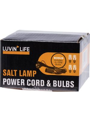LUVIN LIFE Salt Lamp Power Cord & 4 Bulbs 4