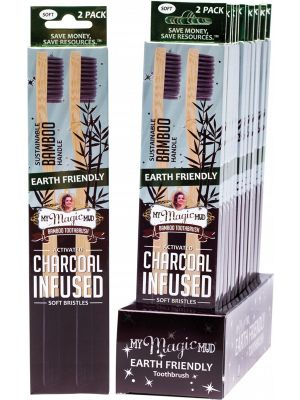 MY MAGIC MUD Bamboo Charcoal Toothbrush 2 Pk Box Of 12 12x2