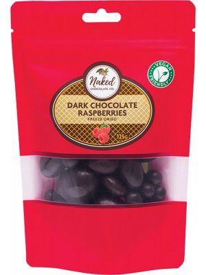 NAKED CHOCOLATE CO Freeze Dried Raspberries Dark Chocolate 125g