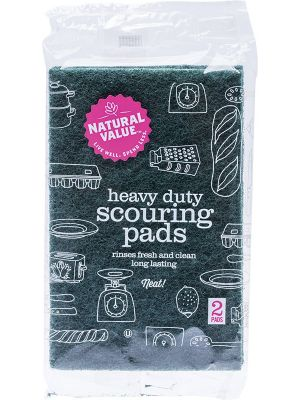 NATURAL VALUE Heavy Duty Scouring Pads 2 Pack 2